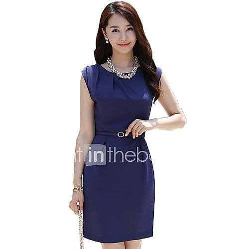 Hanyiou T-shirt das mulheres cor sólida pacote mangas Hip Magro Vestido