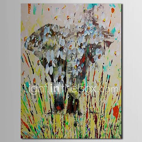 Main peinture à l'huile peinte Animalier Abstrait éléphant avec cadre étiré