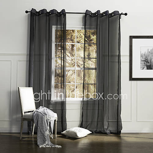 one panel country solid black bedroom polyester sheer curtains shades