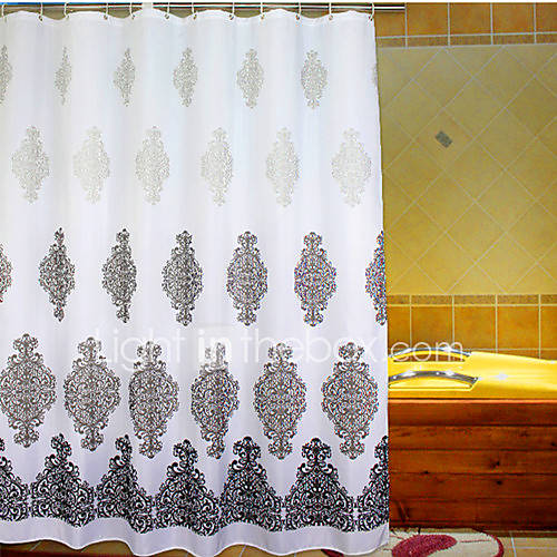 Shower Curtain Baroque Style Gray Flower Print Thick Fabric Water Resistant W71 X L78 2015