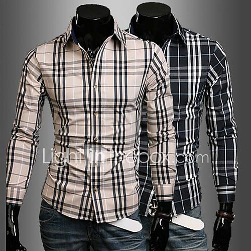 Mode Plaid shirt hommes