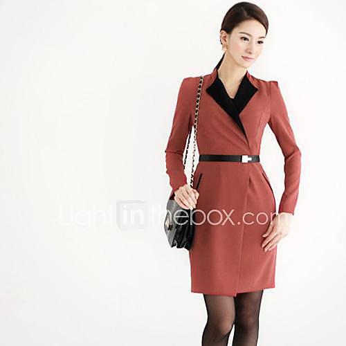 mulheres-contraste-cor-collar-cintura-fina-vestido-longo-da-luva