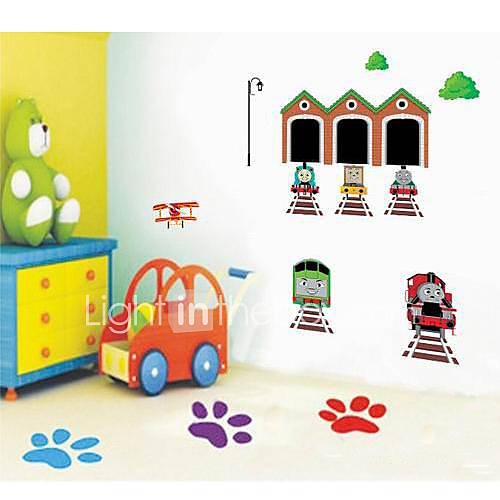 Createforlife animados Robot Train Crianças Nursery quarto adesivos de parede arte da parede decalques