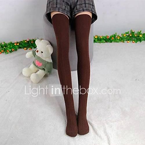 De la Mujer de algodón de punto largo de media medias muslo Medias / Calcetines / Medias De Mujer Descuento en Lightinthebox
