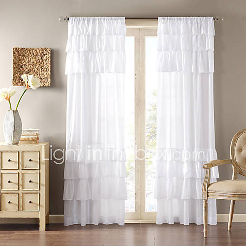 Country One Panel Solid White Living Room Polyester Panel Curtains Drapes 1464204 2017