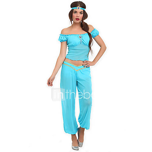 Disfraces de Cosplay / Ropa de Fiesta Princesas Festival/Celebración Traje de Halloween Azul Un Color Top / Pantalones / CintaHalloween / Descuento en Lightinthebox