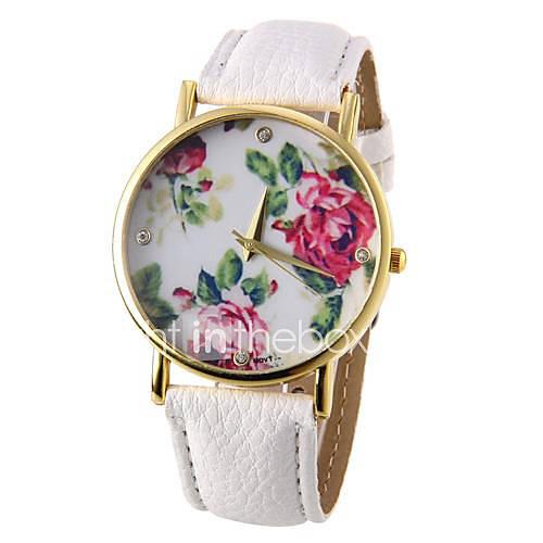 Mujer Reloj de Moda Cuarzo PU Banda Flor Negro / Blanco / Azul / Rojo / Marrón / Verde / Rose Marca- Descuento en Lightinthebox