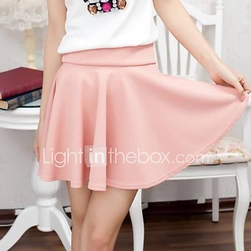 Rose mignon tout-allumette des femmes Pure Color Mini-jupe plissée