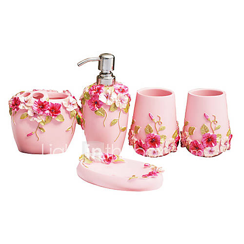 Bath ensemble 5 piece country style pink material abs for Pink bathroom accessories sets