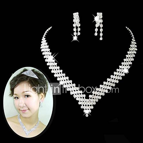 boda nupcial collar de cristal de la dama de honor conjunto pendiente joyas Descuento en Lightinthebox