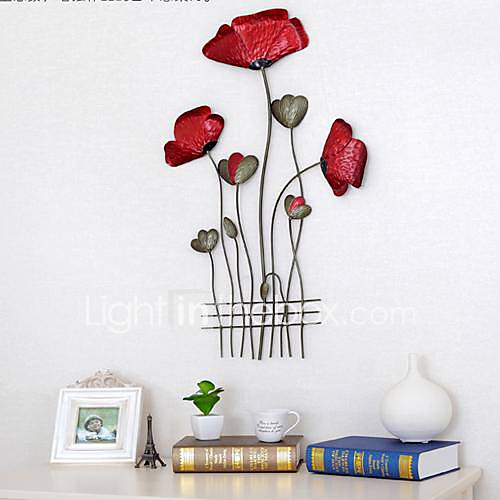 Wrought iron poppy wall act the role ofing 1 for Decoration unite murale