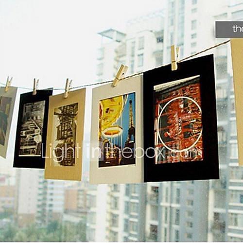 type de suspension cadre de papier de bricolage mur photo avec chanvre et corde clip ensemble de. Black Bedroom Furniture Sets. Home Design Ideas