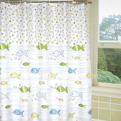 Lovely Cartoon Bubble Fish Shower Curtain 1572437 2016
