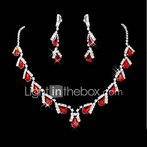 Wedding Bridal Bridesmaid Crystal Necklace Earrings Jewelry Set Descuento en Lightinthebox