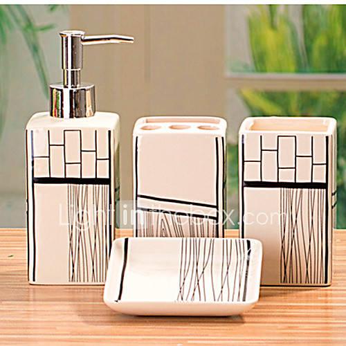 Accesorios para el ba o set 4 pieza rectangular de for Accesorios bano ceramica