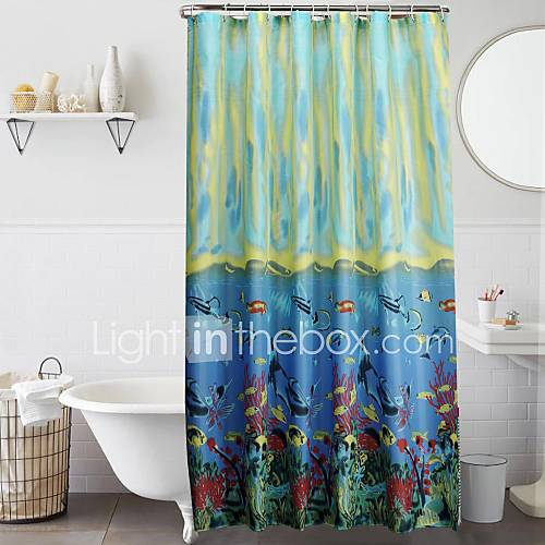 Tropical fish polyester shower curtain 1610472 2016 for Tropical fish shower curtain