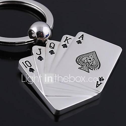 argent cartes à jouer forme métalliques jouets porte-clés