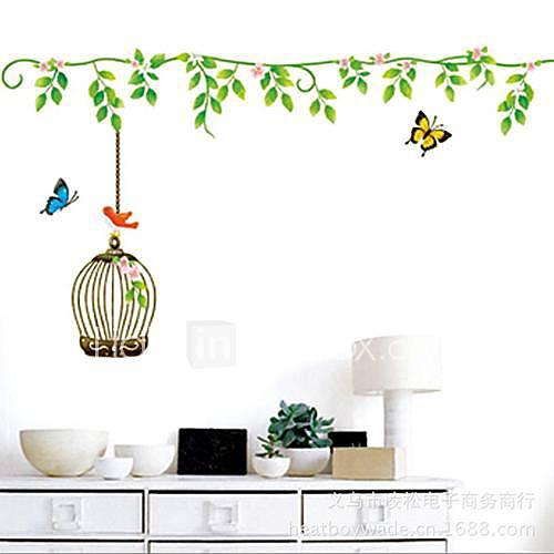 Wall Art Stickers Green : Createforlife? green floral vine birdcage kids nursery