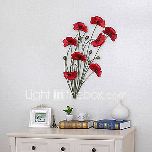 Wrought iron poppy wall act the role ofing 1 - Decoration murale design metal ...