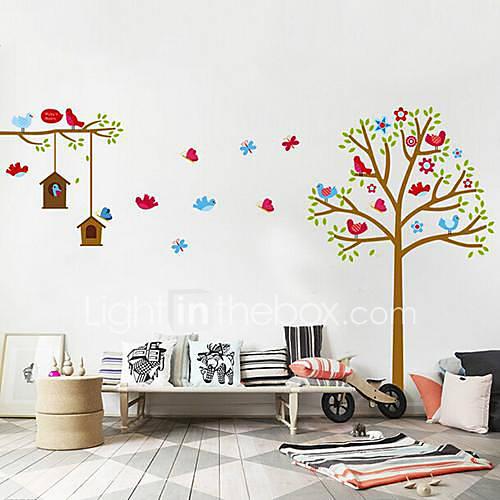createforlife oiseau de dessin anim papillon autocollant d 39 art de pi ce de cr che mur. Black Bedroom Furniture Sets. Home Design Ideas