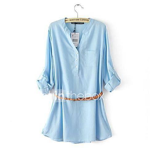 SANFENZISE ™ Kvinnors V-Neck Mode ren färg Långa tröjor