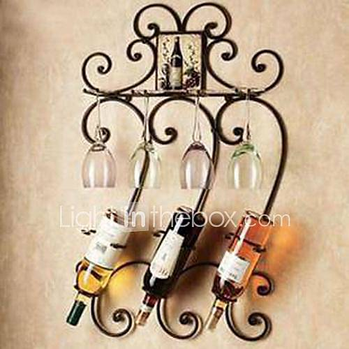 Wall Art Iron Wall Decor Wine Rack Wall Art Two Color Optional Wall