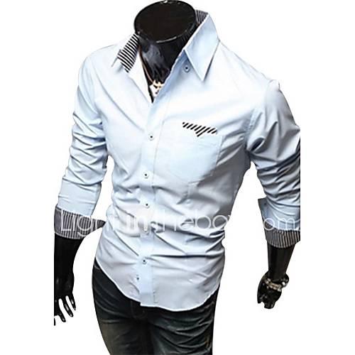 Yess New Style Unique Stripe Shirt(Light Blue,White,)