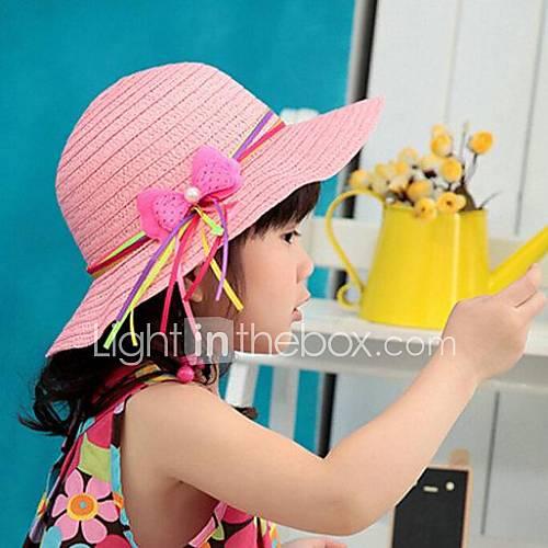 Ruban de satin d'arc de paille chapeau d'été pour enfants
