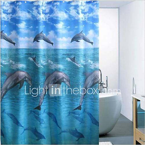 Printed Dolphin Water Repellent Polyester Shower Curtain ...