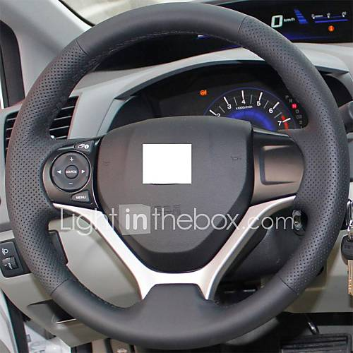 xuji black genuine leather steering wheel cover for. Black Bedroom Furniture Sets. Home Design Ideas