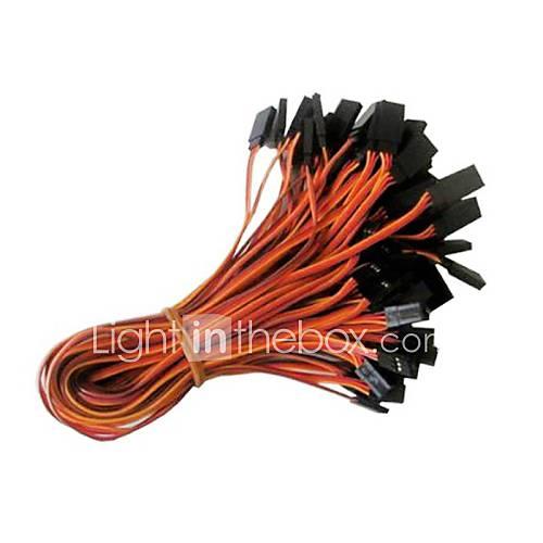 palme rouge orangé 26AWG jr mâle et femelle droit fil d'extension servo plomb l = 300mm (20pcs / sac)