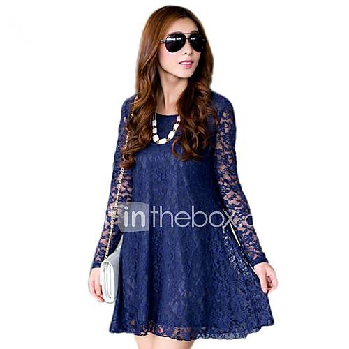 Women's Round Collar Solid Color Fashion Long Sleeve Dresses
