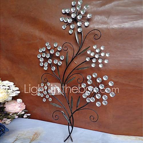 Wall Decor With Crystal : Metal wall art decor crystal flower
