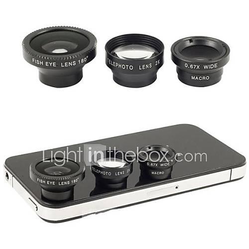 magnéticos 4 em 1 grande angular com lente macro, lente olho de peixe e 180 2x lente teleobjetiva para iphone 5/4 / ipad (cores sortidas)