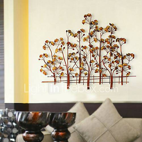 Metal wall art wall decor happiness of the ginkgo tree for Decoration murale ginkgo