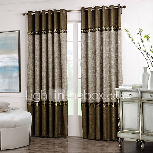 Neoclassical Two Panels Solid Floral Botanical Brown Grey