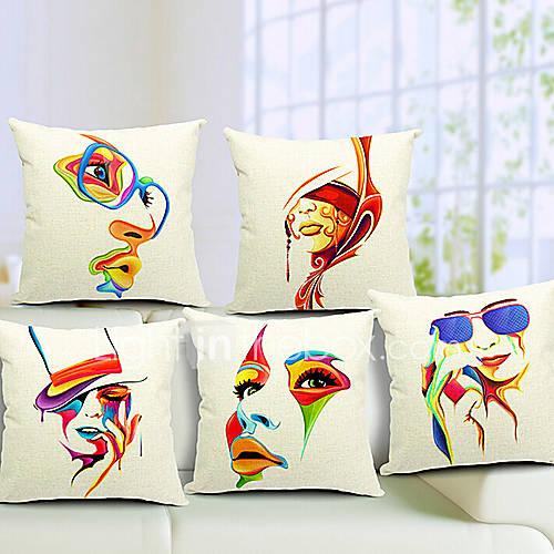 Set Of 5 Modern Girl CottonLinen Decorative Pillow Cover