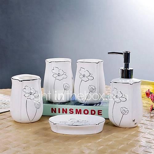 Set De Baño De Ceramica:accesorios de baño set, 5 pieza del patrón de flor del baño de