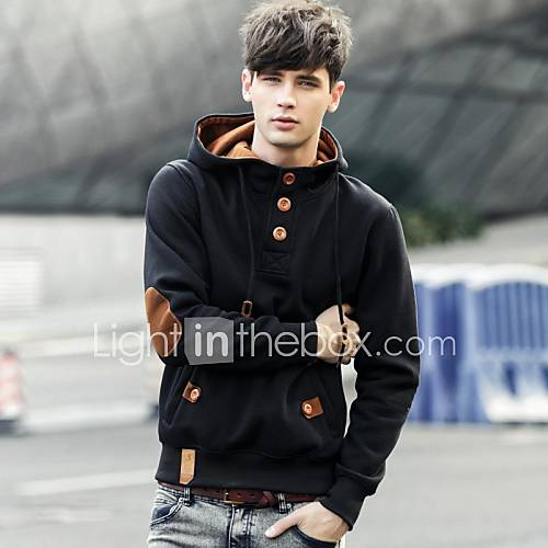 Zian Men's Pullover Solid Color Hoodies Long Sleeves Fleece