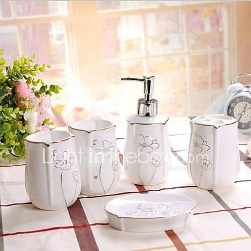 bad zubeh r set 5 st ck goldene linie keramik bad. Black Bedroom Furniture Sets. Home Design Ideas