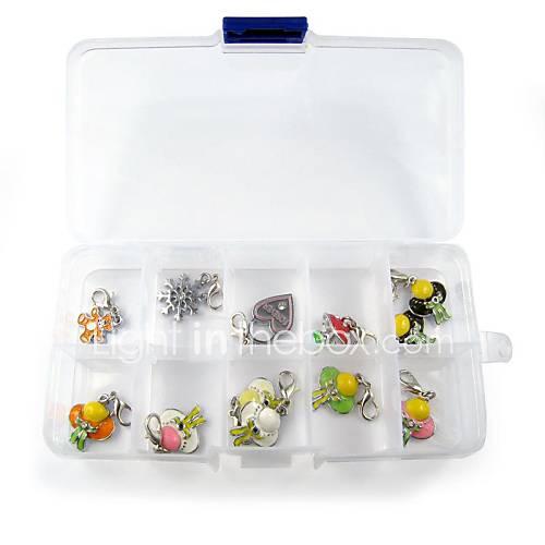 simple, boîte de rangement en plastique en PVC avec dix grille d'action pour la sauvegarde des étiquettes de collier pour animaux chiens