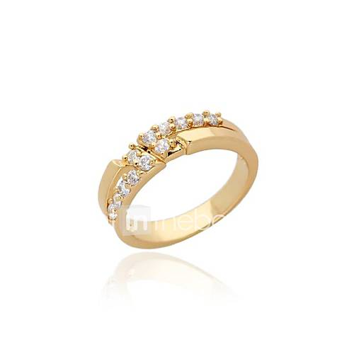 s fashion simple design 18k gold zircon wedding ring