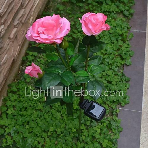 solare alimentato luci da giardino 3-LED Rosa del 1879588 ...