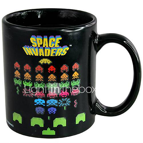 Retro 80s Video Game Mugs Space Invaders Heat Colour