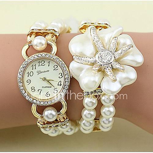 Mujer Reloj de Moda Cuarzo Aleación Banda Flor / Perlas Blanco / Gris / Dorado Marca- Lightinthebox