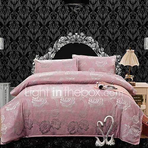 manmer duvet cover set 4 piece the high end luxury satin jacquard silk bedding and court wind. Black Bedroom Furniture Sets. Home Design Ideas