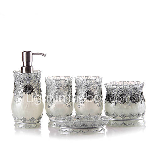 5 piece bath collection set resin material silver color for Silver bathroom set
