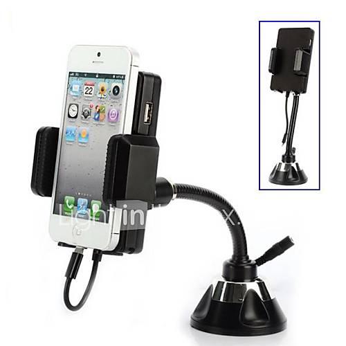 rotativa fm transmissor fm otário com carregador de carro e 3,5 milímetros suporte para carro cabo de áudio para iPhone 5 / 5s