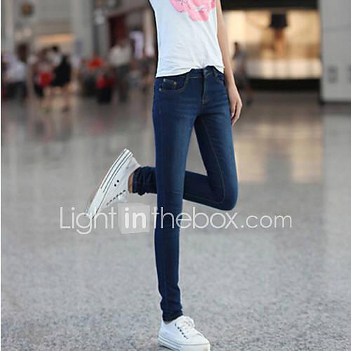 elasticidade simplicidade das mulheres jeans skinny lápis lavados