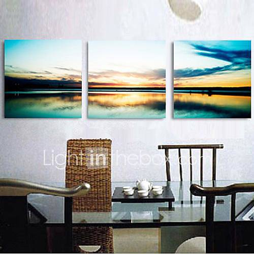 Stretched Canvas Print Art Landscape Sunset by The Sea Set of 3